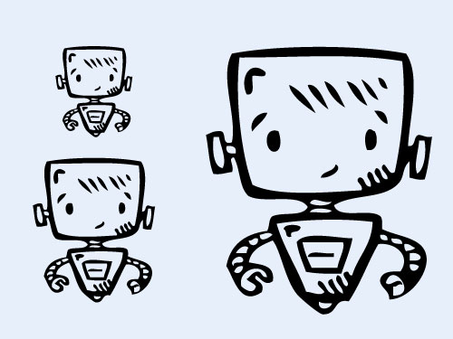 three robot cartoon drawings