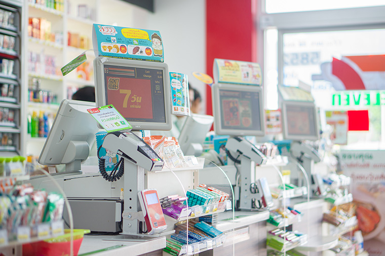 convenience store checkout counter using planogram services